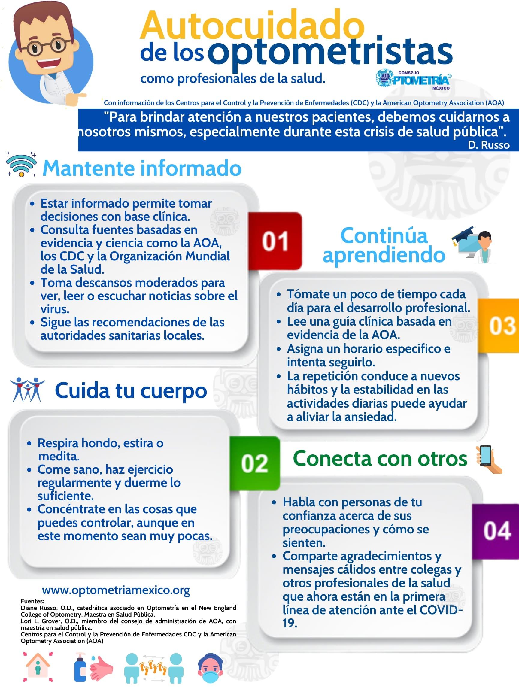 Consejos para el autocuidado de los optometristas como profesionales de la salud-Consejo-Optometría-México-min